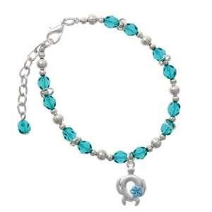 Pearl Blue Plumeria Flower Teal Czech Glass Beaded Charm Jewelry