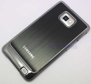 Black Metal Chrome Hard Case Cover For Samsung Galaxy S2 SII i9100