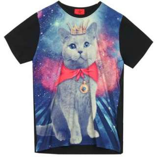 Galaxy T Shirt with CAT Graphic Pattern Print Funky Rock Punk Crew