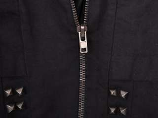SC184 Black Stud Punk Rock Zip Short Jacket Coat