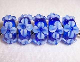 Blue Blossom Flower Lampwork Glass Beads fit European Charm Bracelet