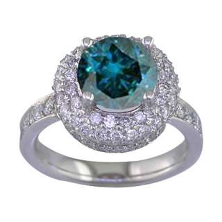 50 CT BLUE & WHITE DIAMOND ENGAGEMENT RING 14K WG