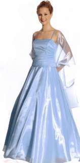 Long Formal Ball Gown Dress Party Gala Prom Evening Baby Blue M # 7/8