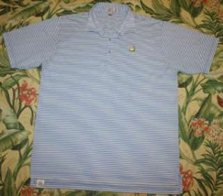 Mens Peter Millar MASTERS Blue Striped Golf Polo Shirt XL