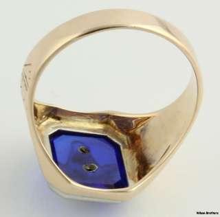 Masonic Blue Spinel c1910s 20s Edwardian Mens Ring   10k White Yellow