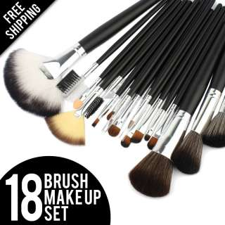 18 Makeup Cosmetic Brush Set Kit Bag Leather Case Eyeshadow Blush