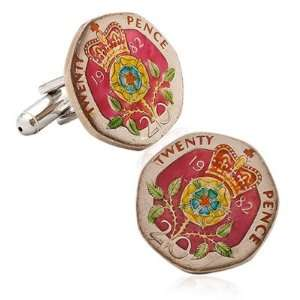 Hand Painted British Twenty Pence Coin Cufflinks CLI PB