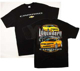 Camaro Chevrolet Chevy Bowtie Bow Tie Legendary Muscle Black T Shirt