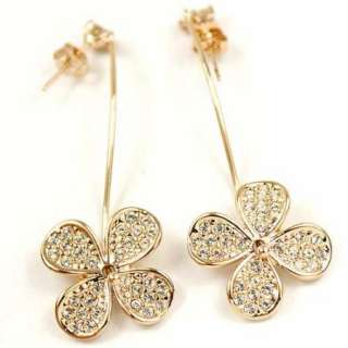 Gold GP Swarovski Crystal Clover Dangle earring j497