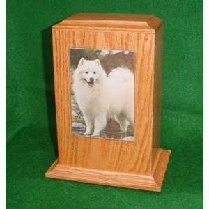 Red Oak Wood Pet Dog/Cat Photo Cremation Urn Large