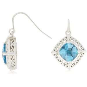 Sterling Silver Cushion Shaped Swiss Blue Topaz Earrings Jewelry