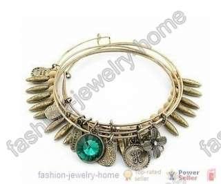 5Pcs Fashion Green Crystal Clover Charms Bracelet