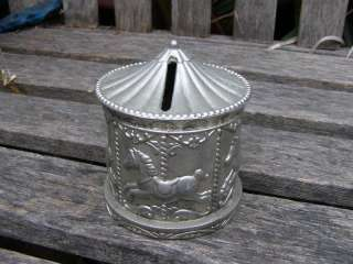 VINTAGE CAROUSEL HORSE MONEY BANK BOX SILVER PLATED