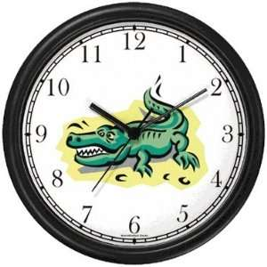 Alligator or Crocodile Cartoon Animal Wall Clock by
