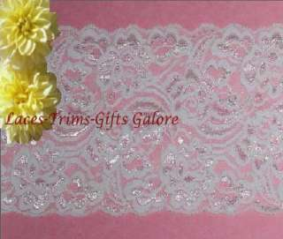 Yds 5 White Stretch Galloon Bridal Lace Trim P03V