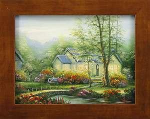 River Brook Bridge House Floral Gardens Landscape Art FRAMED OIL