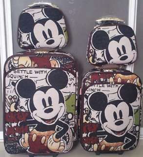 Disney Mickey Mouse Luggage Bag Baggage Trolley Roller Set 24 or 20