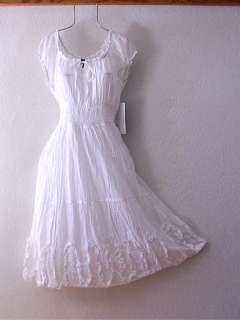 NEW~White Peasant Ruffle Rose Empire Boho Vacation Summer Dress~12/14