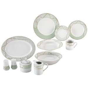 New Nikita 47pc Fine Porcelain China Set With Green And Gold Tone Trim