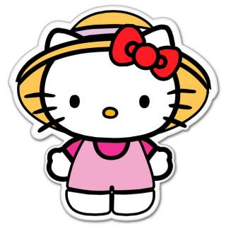 Hello Kitty straw hat cartoon bumper sticker 4 x 4