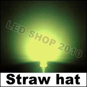 100 pcs 5mm Straw hat warm white LED Wide Angle Light