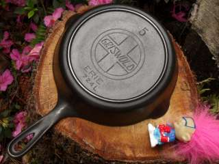 Griswold Erie Slant 5 Cast Iron Skillet with Heat Ring # 724  SMOOTH