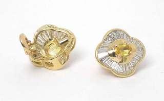 BVLGARI 18k GOLD 4ct DIAMONDS YELLOW SAPPHIRES EARRINGS