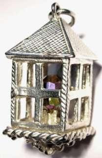 Vintage Sterling Silver OLD FASHIONED LANTERN Charm   crystal