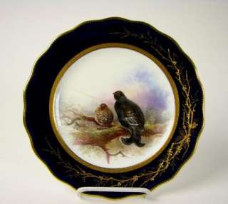 England cobalt blue Porcelain Hand Painted Game Plate w/ Staples