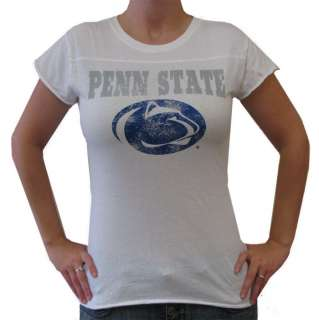 Penn State Womens Overdyed Chest Seam White T Shirt by Step Ahead