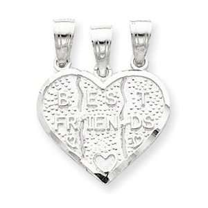 Sterling Silver Best Friend 3 piece break apart Heart Charm Jewelry