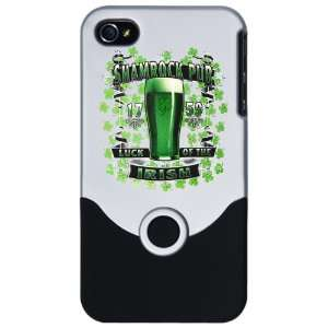 iPhone 4 or 4S Slider Case Silver Shamrock Pub Luck of the