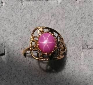 10X8MM LINDE LINDY PINK STAR RUBY CREATED SAPPHIRE RING