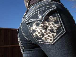LA IDOL White Leather Rhinestone Dark Denim Boot Cut Jeans SIZE 7