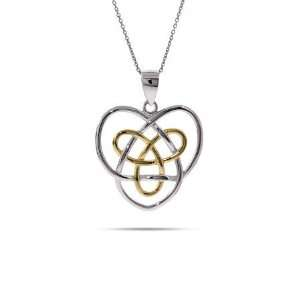 Sterling Silver Celtic Sisters Knot Pendant Length 20 inches (Lengths