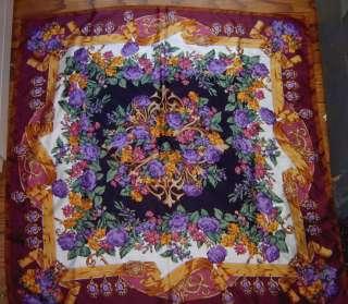 Casca Signed Silk Scarf Purple Black Floral Burgundy