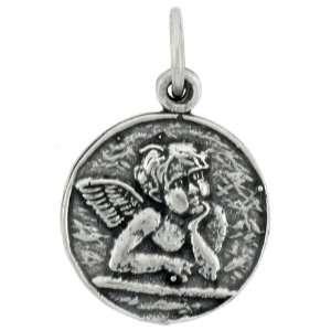 Round shaped Pendant w/ Cherub Angel, 9/16 (14mm) tall Jewelry