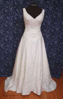 Marys Bridal 9604 Light Ivory Satin Embroidered Beaded Wedding Dress