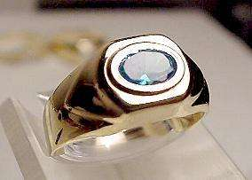 New 14k Solid Gold Blue Topaz Ring