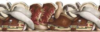COWBOY BOOTS,SADDLE,LASSO wallpaper border SD25028DB