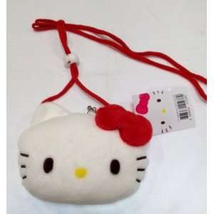 Cute Hello Kitty Face Plush Coin Purse with adjustable
