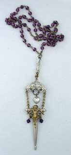 Antique FRENCH Cherub ANGEL CHATELAINE Rosary Necklace