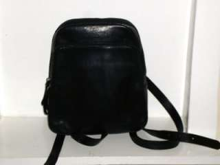 Black Leather Day Pack Back Pack Sling Shoulder Bag MINT