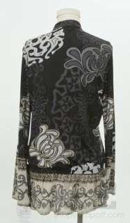 Hale Bob Purple Silk Jersey Jeweled Top Size M NEW