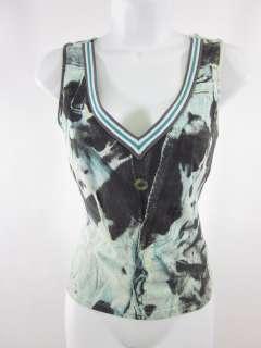 JUST CAVALLI Teal Blue V Neck Sleeveless Shirt Top 44