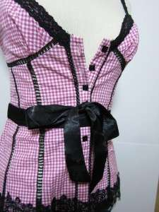 Pink gingham check lace sash sweet lolita rockabilly pin up blouse