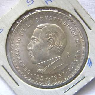 1857 1957 1957 MEXICO 5 Cinco Pesos SILVER Coin COMMEMORATIVE BU