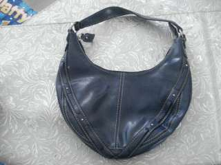 Liz Claiborne NAVY BLUE Leather Like studded Handbag