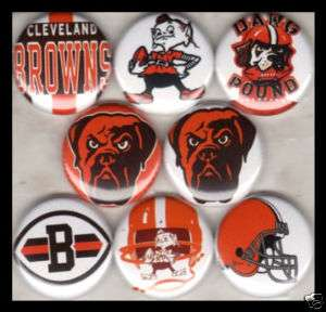 CLEVELAND BROWNS 1 buttons badges FOOTBALL NFL DAWG
