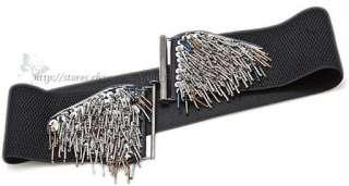 Trendy Corset Wide Elastic High Waist Belt Cinch Black